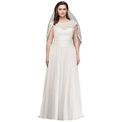 David\'s Bridal Illusion Lace and Chiffon Plus Size Wedding ...