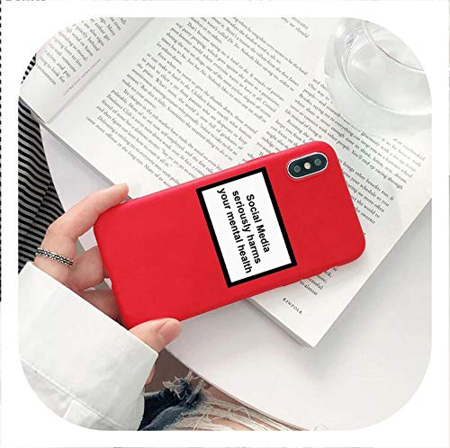 Social Media Seriously Harms Your Mental Health Phone case for iPhone X XR XS MAX 8 7 6 6s Plus Soft Silicone Back Cover Capa,190011,for iPhone X (Polaroid Phone Case Iphone 5)
