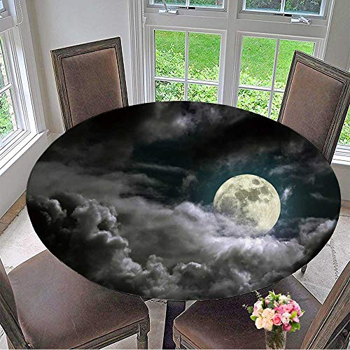 Mikihome Premium Tablecloth of an Interesting Full Moon in a Cloudy Night Everyday Use 63