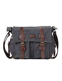Kattee Classic Military Canvas Shoulder Messenger Bag Leather Straps Fit 16 inch Laptop (Dark Gray)