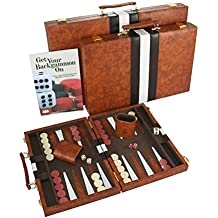 Top Backgammon Set - Classic Board Game Case - Best Strategy & Tip Guide - Available in Small, Medium and Large Sizes By Get the Games Out