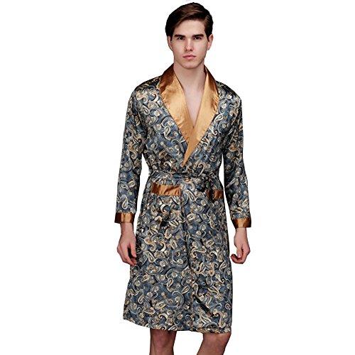 - ZUEVI Men's Long Sleeve Satin Kimono Robe Dragon Lightweight Bathrobe Pajamas(Emerald-L)