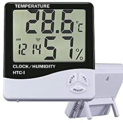 O3D Indoor Digital LCD Hygrometer Thermometer Temperature Humidity Meter Alarm Clock Temperature and Humidity Monitor