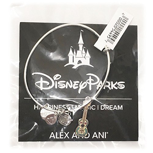 Disney Parks Alex and Ani Coco Guitar Charm Bangle Bracelet (Silver)