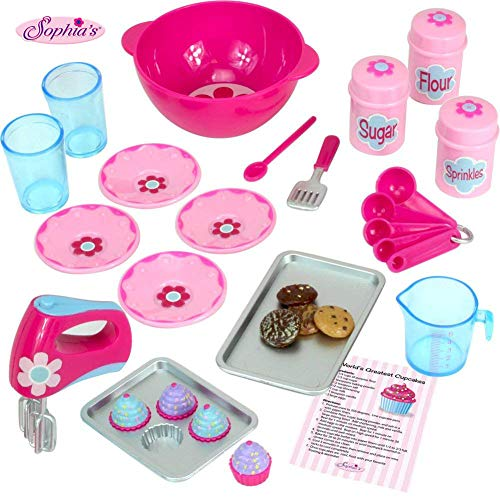 18 Inch Doll Baking Set of 23 Pcs. Fits American Girl Doll Furniture, Mini Doll Food Cookware Set | Doll Sized Barbie Sized Doll Food