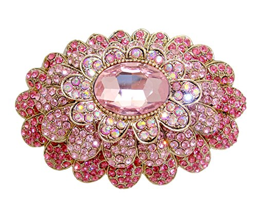 Large Pin Brooch - TTjewelry Sweet Pink 3 Layer Flower Austria Crystal Gold-tone Large Brooch