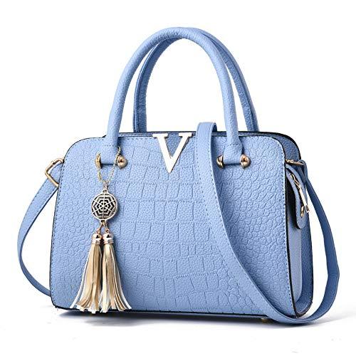 Fourre à main Bleu Sac Cuir Clair Sacs Bandoulière Poignée Femme PU à NEPW Tout w85a6nqAE