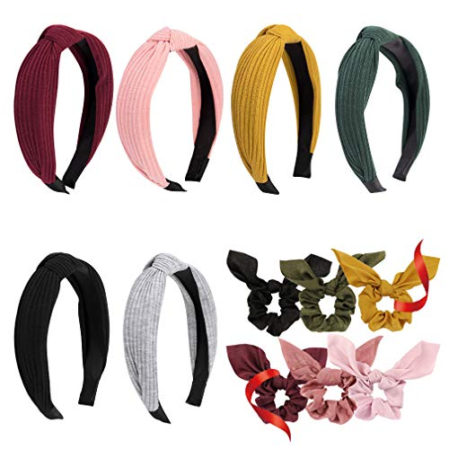 Knotted Headbands, 6pcs Turban Headbands, Cross Bow Headbands for Girls Women Hair Accessories (Come with 6 Pcs Bow Scrunchies)