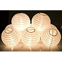 KI Store@ Chinese / Japanese Round Paper Lanterns String Lights for Wedding Party House Decorations (Decorative DIY Plain White Paper Lantern with Lights)
