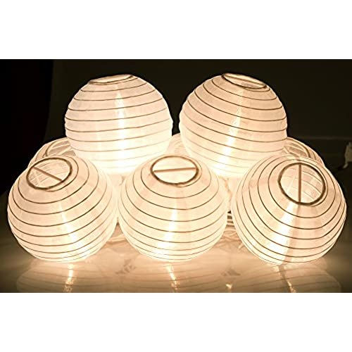KI Store Lantern String Lights Set Of 10 Extendable Plug In Oriental Style  Lanterns With Lights For Weddings Parties Bedroom Decoration (Plain White)