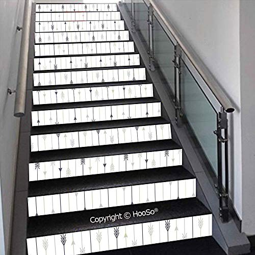 - PUTIEN Creative Decorative 3D Self-Adhesive Stair Riser Decal - Stair Stickers Decals Wallpaper for Home Decoration,Colorful Diagonal Stripes Traditional Polka Dots Surreal Ill,39.3