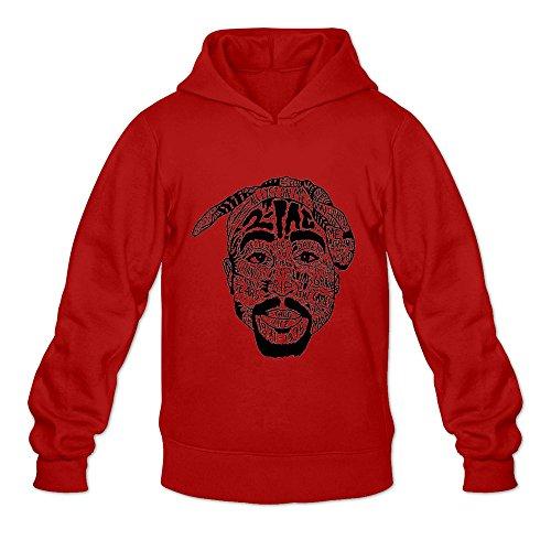 Sweatshirt Fleece Coast - Men's 2 Pac Rock Hoodies Sweatshirt Size M US Red