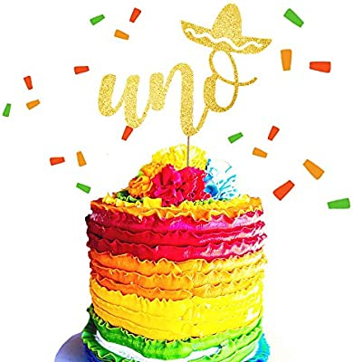 Pleasing Jevenis Glittery Uno Cake Topper Fiesta First Birthday Cake Personalised Birthday Cards Beptaeletsinfo