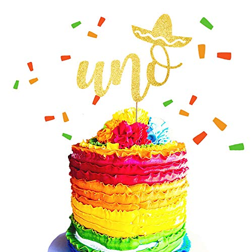 JeVenis Gold Glitter UNO Cake Topper Fiesta First Birthday Cake Decoration for Spanish First Birthday Party Decorations -
