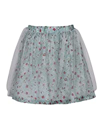 Richie House Girls' Floral Skirt with Mesh Covered Size 1-8Y RH2687