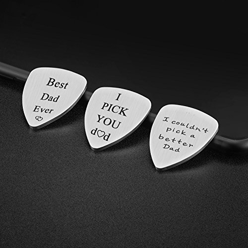 IJuqi Guitar Pick Gift for Dad Father - Pack of 3 Dad Gift Set Idea from Wife Girlfriend Daughter Son Kids, Stainless Steel, Christmas Birthday Valentines Fathers Day Gift for Men (Dad-Guitar-Pick)