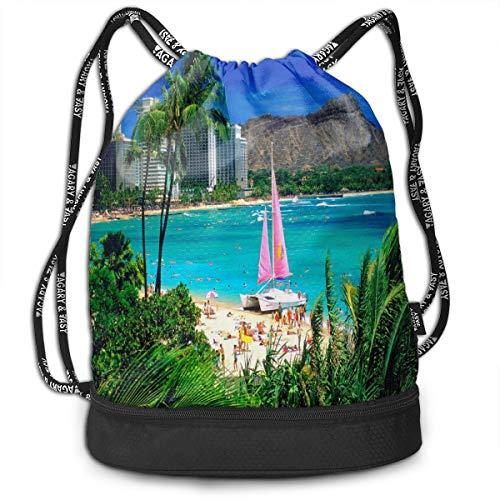 Sport Unisex Bundle Drawstring Backpack Beautiful Hawaiian Islands Travel Durable Large Space Gym Sack Cool Waterproof Multifunction School Backpack
