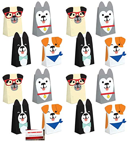 Birthday Treat Plate - Puppy Dog 16 Pack Party Paper Loot Treat Candy Favor Bags with Attachments (Plus Party Planning Checklist by Mikes Super Store)