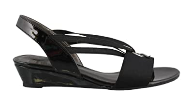 Women's Life Stride, Yario Low Heel Wedge Sandals Black 5.5 M