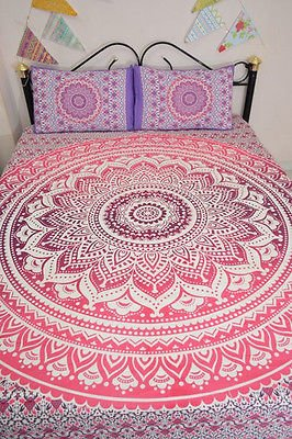 Amazon.com: Indian Duvet Cover Tapestry Mandala Hippie Quilt Cover Bohemian Blanket Throw with pillows cover: Home & Kitchen