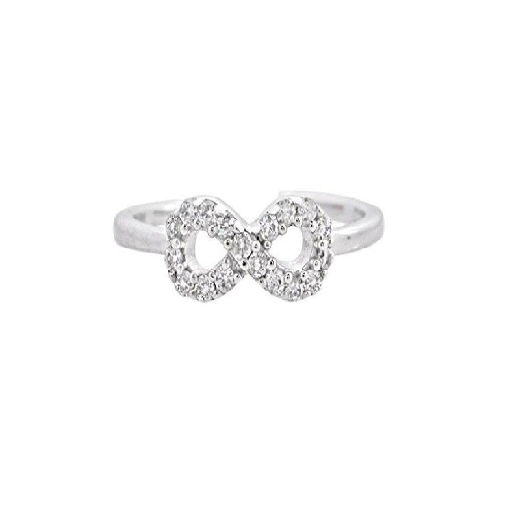 Silvernshine Jewels Women's D/VVS1 Diamond 14K White Gold Fn .925 Sterling Infinity Adjustable Toe Ring SNSTR112-BG