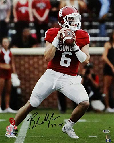 9b6195391 Baker Mayfield HT Signed Oklahoma Sooners 16x20 Hands on Ball PF Photo-  Beckett Auth at Amazon's Sports Collectibles Store