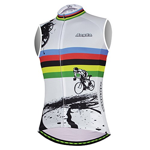 Aogda Cycling Vests Jerseys Women Bike Shirts Sleeveless Clothing Ladies Biking Shorts Bicycle Tights (02A, Large)