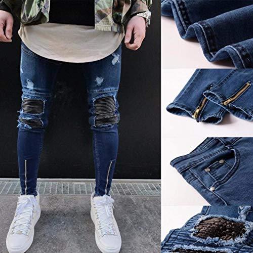 Fold Elastico Jeans Skinny Uomo Motorcycle Biker Abbigliamento Vintage Absoar Fit Aderenti Foro Denim Slim Dunkelblau Strappato Pantaloni Distrutto qwOF56Pd