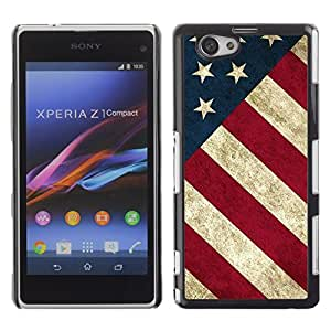 Design for Girls Plastic Cover Case FOR Xperia Z1 Compact D5503 Star Stripe Flag American Rustic Patriotic OBBA