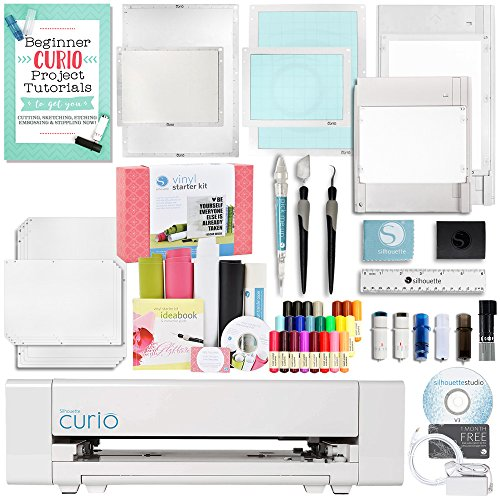 Silhouette America Curio Crafting Machine with Large Base, Vinyl Kit, Deep Cut Blade, Premium Blade, Etching, Tools, and More! by Silhouette America
