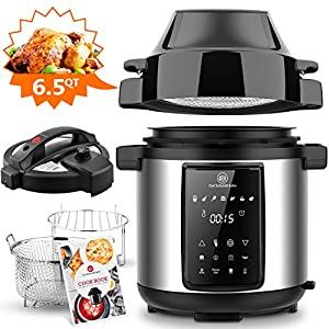 6Qt Pressure Cooker & Air Fryer Combos - Steamer Cooker, All-in-One Multi-Cooker with Pressure & Crisping Lid, LED… 5