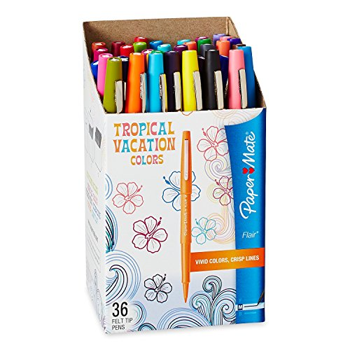 Paper Mate 1928608 Flair Felt Tip Pens, Medium Point, Limited Edition Tropical & Assorted Colors, 36-Count by Paper Mate (Image #1)