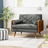 Greta Mid Century Modern Fabric Club Chair, Gray