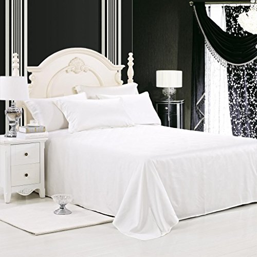 LUXUER - Silk Flat Sheet/Blanket 1-Piece Machine Washable Handmade 100% Pure Mulberry Silk for All Seasons Queen Size, Ivory White