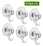 Rywell Super Powerful Vacuum Suction Hooks No Drilling No Screws No Holes No Glue Perfect for Hanging Your Bags Cloths Towels Kitchen Tools Bathroom Accessories (6 Pack×20) Total 120 Single Hooks