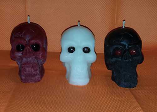 1 Solid Skull Candle- Black, Red or White-Cider Web Scent - Cider Scent Candle