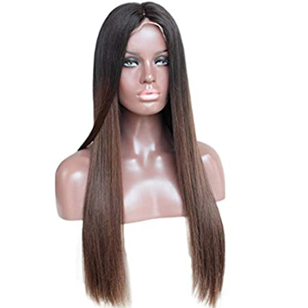 Zana Wigs Glueless Human Hair Lace Front Wig Silky Straight Two Tone