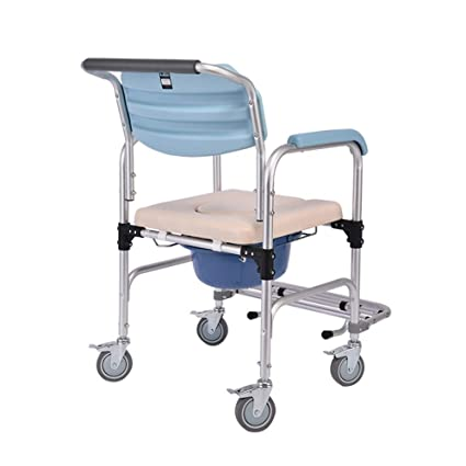 Commode silla rueda Commode ancianos discapacitados embarazada móvil cuarto de baño silla taburete silla de ruedas