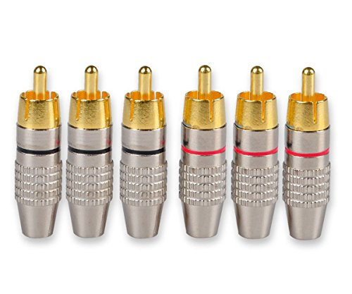 (Besmelody 6-Pack RCA Male Plug Screws Audio Video In-Line Jack Adapter Solderless Gold Plated [3-Pair])