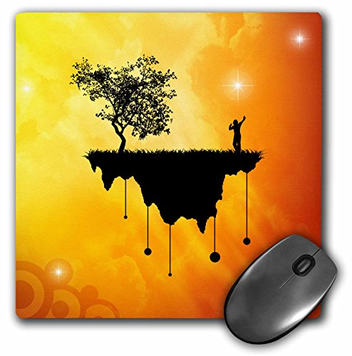 3dRose LLC 8 x 8 x 0.25 Inches Slice of Earth Silhouette of a Person and Tree on Landmass Traveling in Space Mouse Pad (mp_18136_1)