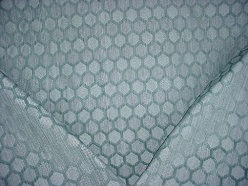 Designer Fabric Drapery Pattern (Jacquard Fabrics Segment - Aqua Blue Honeycomb Tansitional Geometric Designer Upholstery Drapery Fabric - By the Yard)
