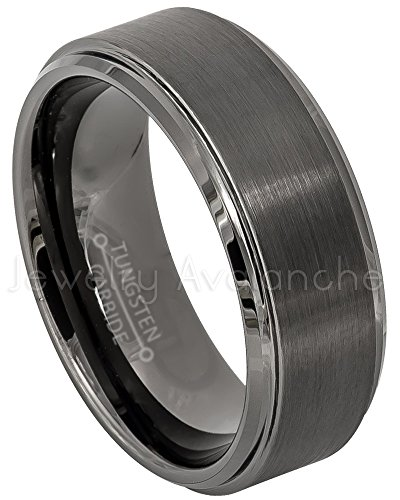 Brushed Heart Ring (Jewelry Avalanche Brushed Gunmetal Tungsten Ring, Men's Tungsten Wedding Band - s7.5)