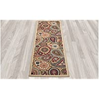 27ft X 10ft Southwest Runner Rug, Colorful Paisley Swirls Narrow Carpet, Tribal Southwestern Motifs Native Long Hallway Flooring Entraceway Skinny Colorful Florals Indoor, Beige Tan Red Vivid
