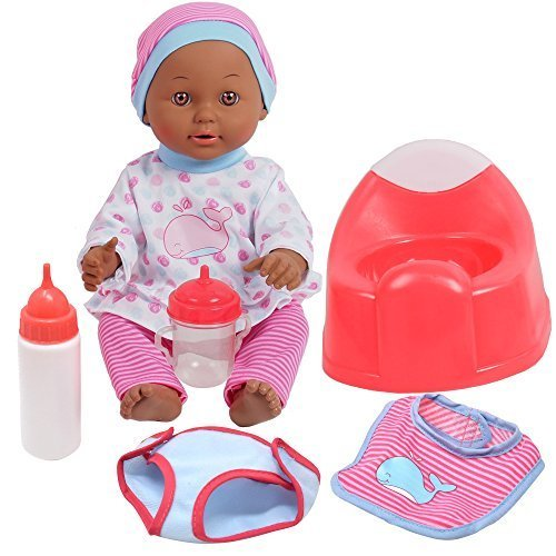 Drink and Wet Baby Doll, With Training Potty, 2 Bottles, Diaper, Bib, African ()
