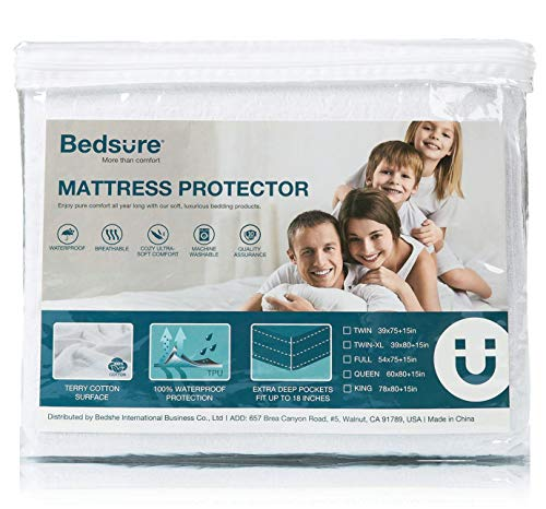 Bedsure 100% Waterproof Mattress Protector Queen Size Terry Cotton Deep Pocket Hypoallergenic Mattress Cover-Vinyl Free White 60