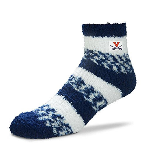 (For Bare Feet NCAA RMC Pro Stripe Fuzzy Sleep Soft Sock -Virginia Cavaliers-Size-Medium)