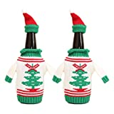 Sweater Wine Bottle Cover, 2 Pcs Christmas Pattern Bottle Beer Knit Hat and Sweater Bottle Topper for Dinner Table Decorations Fun Party Gift Holidays Present for Wine Lovers