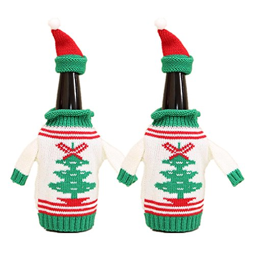 Sweater Wine Bottle Cover, 2 Pcs Christmas Pattern Bottle Beer Knit Hat and Sweater Bottle Topper for Dinner Table Decorations Fun Party Gift Holidays Present for Wine Lovers by ZJchao
