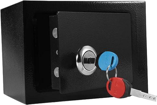 GOTOTO - Caja Fuerte con 2 Llaves, Caja Fuerte pequeña con móvil, de Acero, 23 x 17 x 17,3 cm, Color Negro: Amazon.es: Hogar