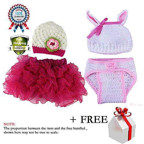Baby Girl Newborn Princess Knit Consumer Crochet Hat Skirt Photo Prop Outfits Photography 2 Set 2-10 (Halloween Store Portland Oregon)